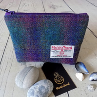Harris Tweed make-up bag. Medium size in deep purple and green tartan