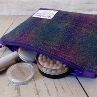 Harris Tweed make-up bag. Large size in deep purple and green tartan