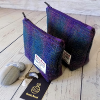 Harris Tweed gift set. Large and medium make-up bags in deep purple and green