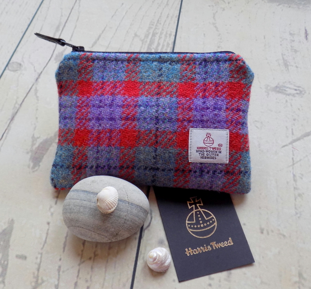 Harris Tweed large coin purse. Check weave in red, turquoise, lilac and grey