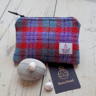Harris Tweed coin purse. Check weave in red, turquoise, lilac and charcoal grey