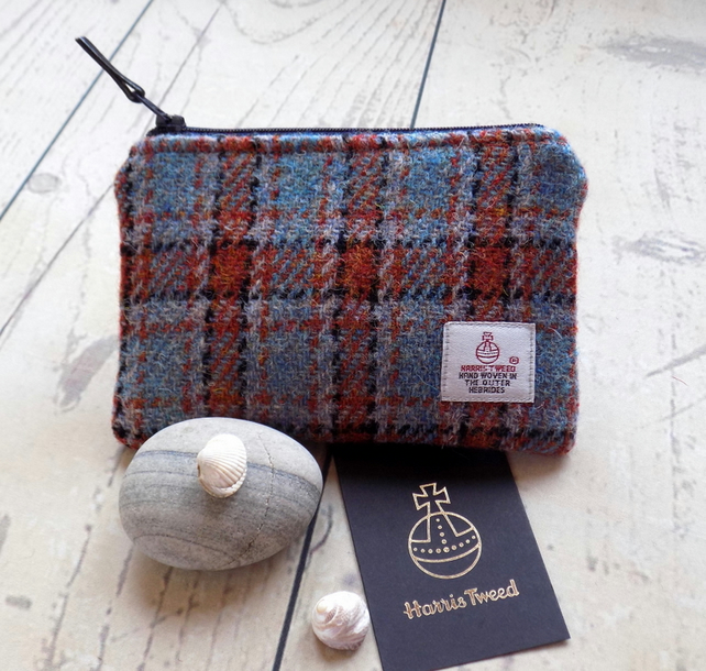 Harris Tweed large coin purse. Check weave in burnt orange, turquoise and black