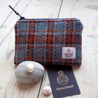 Harris Tweed coin purse. Check weave in burnt orange, turquoise and black
