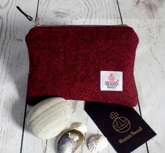 Harris Tweed coin purse in deep burgundy red with stone grey zip and lining