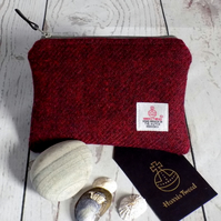 Harris Tweed large coin purse in deep burgundy red