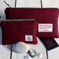 Harris Tweed gift set. Clutch and coin purse in deep burgundy