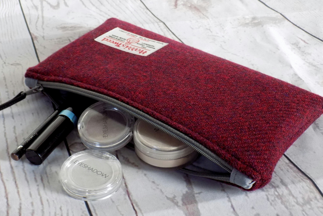Harris Tweed clutch purse, pencil case, make-up bag in deep burgundy red