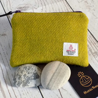 Harris Tweed large coin purse in lichen green yellow, with purple zip and lining