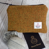 Harris Tweed coin purse in mustard yellow, with navy blue zip and lining