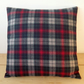Cushion cover. Tartan plaid in red, black, beige and teal