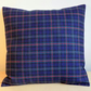 Cushion cover. Tartan plaid in dark blue, turquoise, black and red