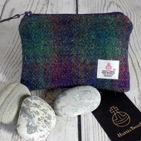 Harris Tweed large coin purse. Tartan shadow weave in deep purple and dark green