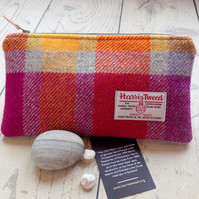 Harris Tweed clutch purse, pencil case in multicoloured check