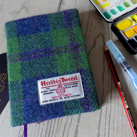 Harris Tweed covered A6 sketchbook in pea green, blue and violet purple check