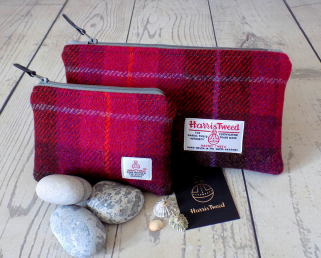 Harris Tweed gift set. Clutch and coin purse in cerise red and dark brown tartan