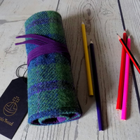 Harris Tweed pencils roll in pea green, blue and violet purple. Includes pencils
