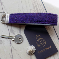 Harris Tweed key fob wrist strap in deep purple