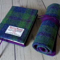 Harris Tweed artist's gift set. A6 sketchbook and pencils roll in pea green