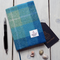 A6 Harris Tweed covered 2019 diary in turquoise tartan. Week to view