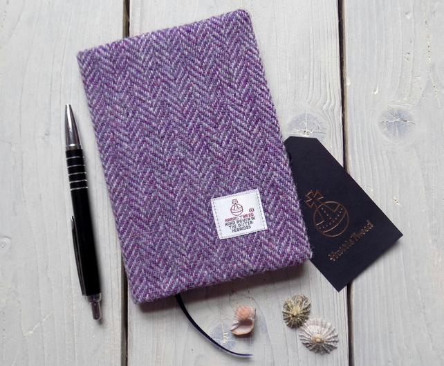 A6 Harris Tweed covered 2018 diary in purple and grey herringbone. Week to view