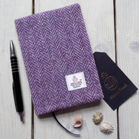 A6 Harris Tweed covered 2019 diary in purple and grey herringbone. Week to view