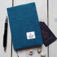 A6 Harris Tweed covered 2019 diary in dark teal. Week to view