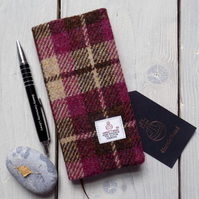 Harris Tweed covered 2018 slim diary in plum and brown check. Week to view