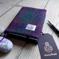 A6 Harris Tweed covered 2019 diary in deep purple green tartan. Day per page