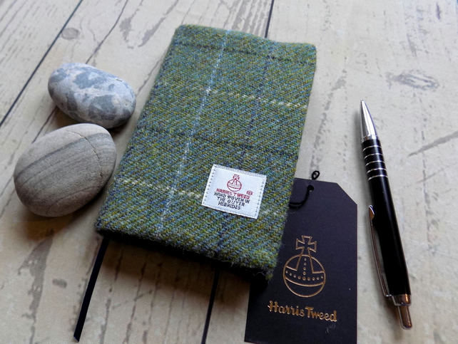 Harris Tweed covered pocket journal in green with grey overcheck