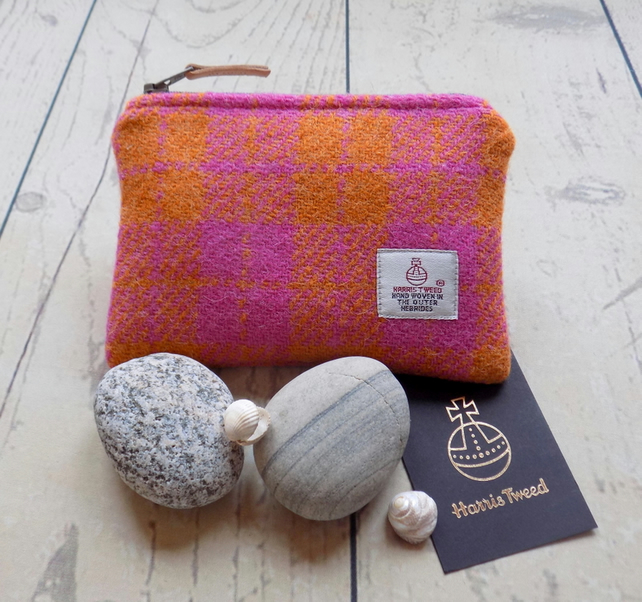 Harris Tweed coin purse.  Check plaid weave in orange and pink