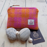 Harris Tweed large coin purse. Check plaid weave in orange and pink