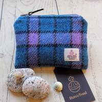 Harris Tweed coin purse.  Check weave in deep turquoise, lilac and charcoal