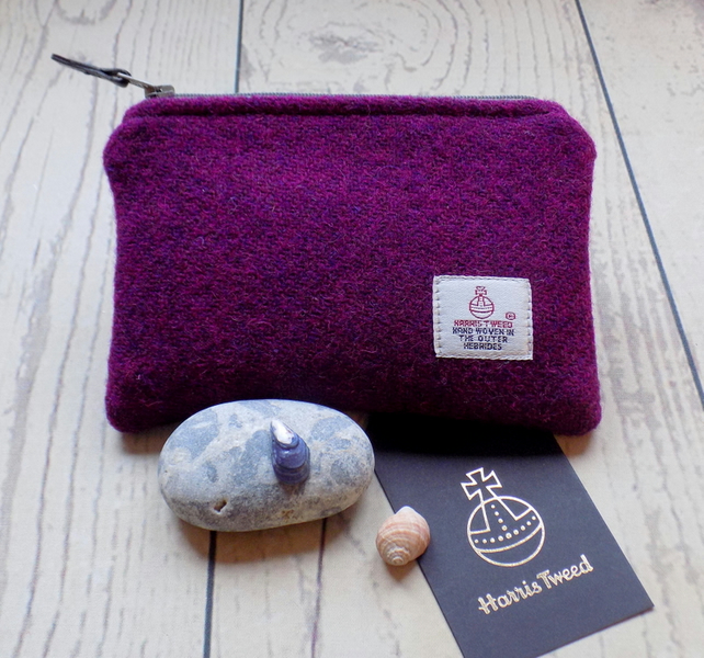 Harris Tweed coin purse in deep violet purple