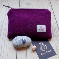Harris Tweed large coin purse in deep violet purple