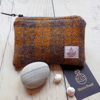 Harris Tweed coin purse.  Check plaid weave in mustard and pewter brown