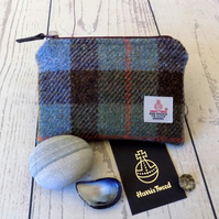 Harris Tweed large coin purse.  Macleod tartan weave in blue, brown and green