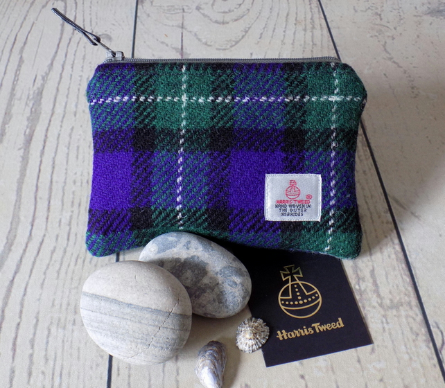 Harris Tweed large coin purse. Tartan weave in purple, green, black and white