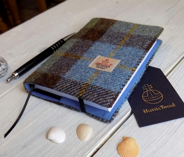 A6 Harris Tweed covered 2019 diary in Macleod tartan. Day per page