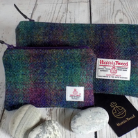 Harris Tweed gift set. Clutch and coin purse in deep purple and green tartan