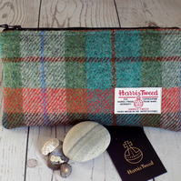 Harris Tweed clutch purse, pencil case in turquoise, green, burgundy and orange