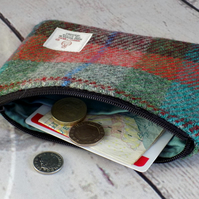 Harris Tweed coin purse. Tartan weave turquoise, green, burgundy and orange