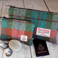 Harris Tweed gift set. Clutch and coin purse in turquoise, burgundy and orange