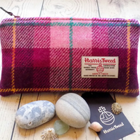 Harris Tweed clutch purse, pencil case in pink and plum purple