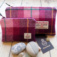 Harris Tweed gift set. Clutch and coin purse in pink and plum purple