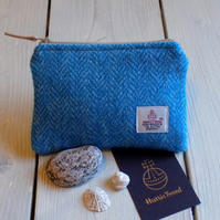 Harris Tweed large coin purse in turquoise and blue herringbone weave