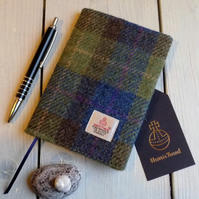 A6 Harris Tweed covered 2019 diary in blue, green and brown tartan. Week to view