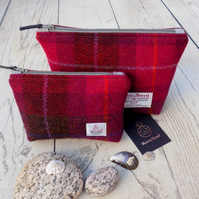 Harris Tweed gift set. Large and small make-up bags in cerise, brown and purple