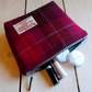 Harris Tweed make-up bag. Large size in cerise, brown and purple tartan