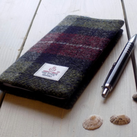 Harris Tweed covered 2018 slim diary in burgundy, midnight blue and green