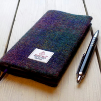 Harris Tweed covered 2018 slim diary in deep purple and green tartan